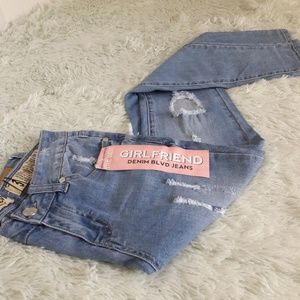 Denim - Denim blvd iris skinny girlfriend distressed jeans